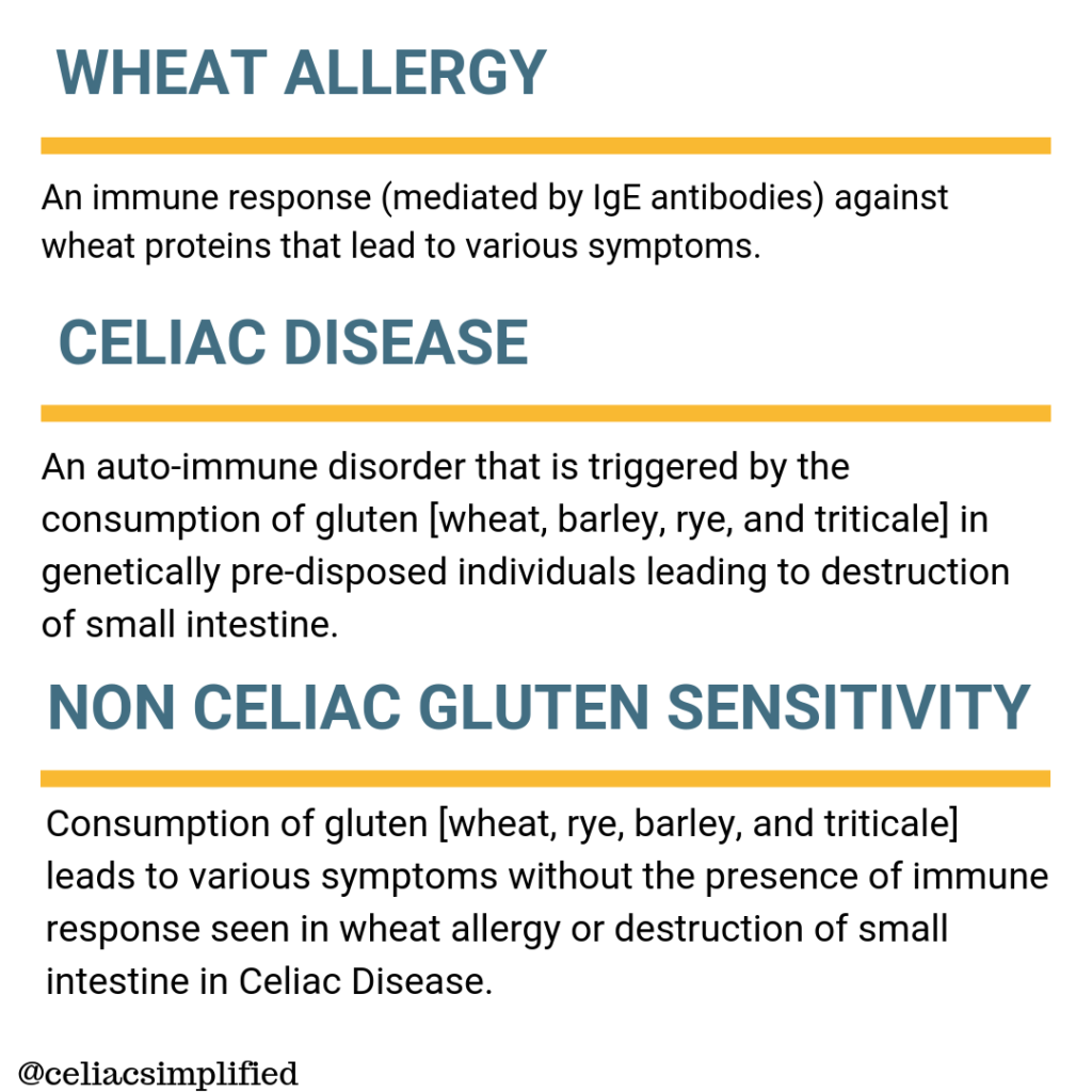 Wheat Allergy versus Celiac Disease versus Non Celiac Gluten Sensitivity